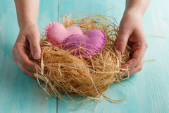 Closeup photo of female holding heart. Closeup photo of female holding red knitted heart in hands at nest stock images