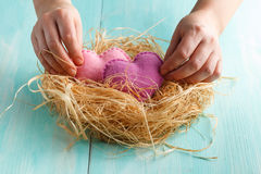 Closeup photo of female holding heart. Closeup photo of female holding red knitted heart in hands at nest royalty free stock images