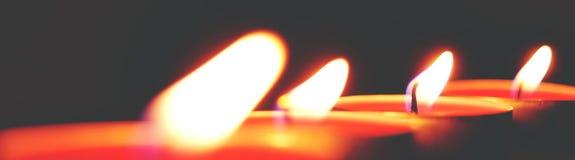 Closeup Photo of Four Tealight Candles Stock Images