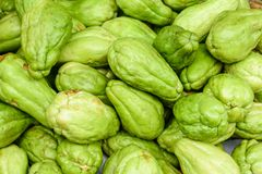 Closeup photo of fresh vegetable, marrow or chayote stock photo