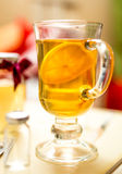 Closeup photo of hot tea with lemon in transparent glass Royalty Free Stock Photo