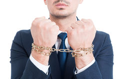 Closeup photo of lawyer hands with chain arrested for bribe Stock Photography