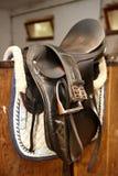 Closeup photo of leather saddle Royalty Free Stock Images