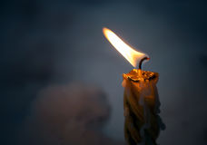 Closeup photo of little candle flame Royalty Free Stock Image