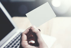 Closeup Photo Man Showing Blank White Business Card and Using  Modern Laptop Blurred Background. Mockup Ready for. Private Information. Sunlight Reflections Royalty Free Stock Image