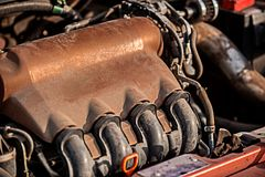 Closeup photo of a motor block Stock Image