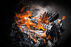 Closeup photo of natural outdoor fire Royalty Free Stock Photography