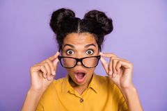 Free Closeup Photo Of Pretty Dark Skin Lady Taking Off Eyeglasses Not Believe Eyes Awful Situation Open Mouth Wear Yellow Royalty Free Stock Image - 161068216