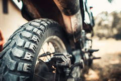 Closeup photo of offroad motor bike outdoor Royalty Free Stock Images