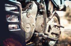 Closeup photo of offroad motor bike outdoor Royalty Free Stock Photo