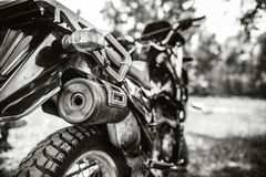 Closeup photo of offroad motor bike outdoor Stock Images