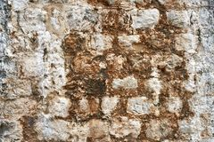 Closeup photo of old shabby stone wall outdoors stock photos