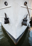 Closeup photo of an old ship bow with anchors Royalty Free Stock Images