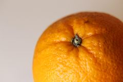 Details of an Orange in Macro Photo. Closeup photo of an orange. The fruit has vibrant, bright color. Photographed with a macro lens. t is on a neutral colored royalty free stock image