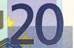 Closeup photo of a part of twenty euro note Royalty Free Stock Image