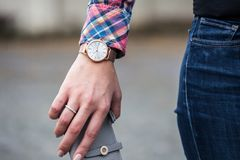 Closeup Photo of Person Wearing Round Gold-colored Framed Analog Watch Royalty Free Stock Photos