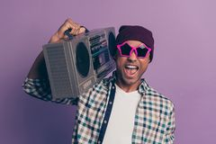 Closeup photo portrait of positive glad optimistic handsome ecstatic funny funky careless in modern street outfit stock images