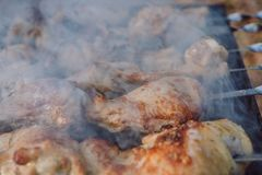 Closeup photo of preparation barbecue grill with chicken meat on outdoor in time summer. stock photography