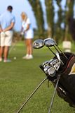 Closeup photo of professional golfing kit. On golf course, on green grass stock images
