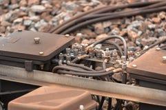 Closeup photo of a railway part stock photos