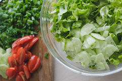 The closeup photo of the salad in a bowl. With the chopped veggies on the background stock image