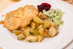 Closeup photo of steak with fried potatoes and vegetable. Salad Royalty Free Stock Photos