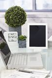Closeup photo of tidy desktop royalty free stock photography
