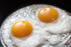 Closeup photo of two scrambled eggs Stock Photo