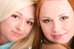 Closeup photo of two teenager girls faces Royalty Free Stock Image