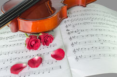 Closeup photo of violin and roses. On note sheet Royalty Free Stock Images