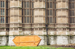 Closeup photo of Westminster palace with big garbage container, Stock Photos