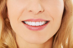 Closeup photo of woman's teeth Royalty Free Stock Image