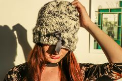 Closeup Photo of Woman Wearing White and Black Knit Cap Royalty Free Stock Images