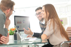 Closeup photo young business managers working with new startup p royalty free stock photo