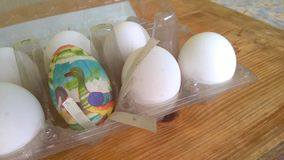 A closeup photograph of a single painted plastic Easter egg nested inside of a plastic egg carton with several real chicken eggs stock image