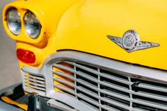 Closeup Photograph of Yellow Car Grille Royalty Free Stock Image