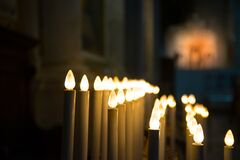 Closeup Photography of Candle Lamp Line Stock Images