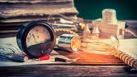Closeup of physics Laboratory in vintage classroom Royalty Free Stock Photo