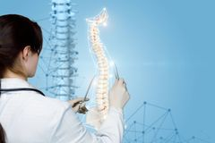 A physiotherapist operating with artificial spine model stock photography