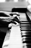 Closeup on Piano. In Black and White, selective focus on keys. Dark background stock photography