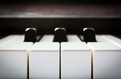 Closeup piano keyboard Stock Photos