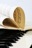 Closeup of a piano keyboard and notes of music. Vertical royalty free stock photography