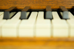 Closeup of a piano keys Stock Photos