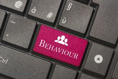 Closeup picture of Behaviour button of keyboard of a modern computer. To mean a concept royalty free stock image