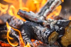 Closeup picture of a burning bonfire stock images