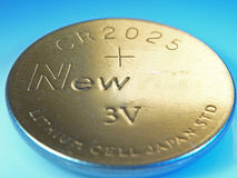 Closeup Picture of Button Cell battery Stock Images