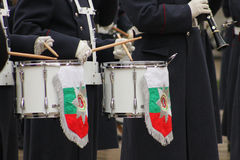 Drums and uniforms. Closeup picture of drums with bulgarian flag and uniforms Stock Photos