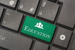 Closeup picture of Education button of keyboard of a modern computer stock image