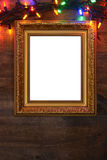 Closeup picture frame with christmas lights Royalty Free Stock Image
