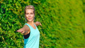 Closeup picture of hands position in warrior yoga pose Royalty Free Stock Image